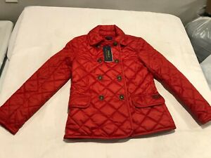 NWT $115.00 Polo Ralph Lauren Girls Diamond Quilted Barn Coat Red MEDIUM 8-10