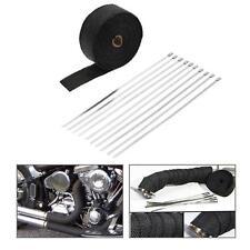 10m Roll Black Fiberglass Exhaust Header Pipe Heat Wrap Tape + 10 Ties Kit D3N4