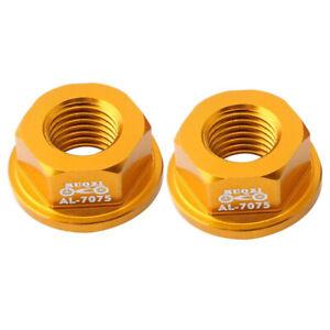 2X Bike Hub Axle Nut Flange Wheels Nuts for Kids Balance Bicycle Cycle Gold