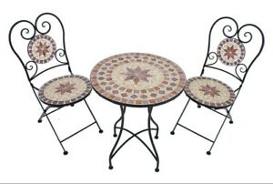 3tlg. Balkon Set Mosaik Garten Terrasse Metall Stuhl Tisch Beistelltisch Stühle