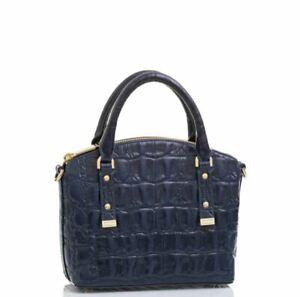BRAHMIN Duxie Poolside Basque Midnight Blue Leather Satchel/Shoulder Bag NWT