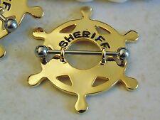 Gold Sheriff Badge Nipple Shield.