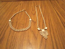TWO Vintage Choker Necklace Imitation Pearl beads Gold tone