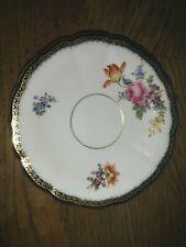 Meissen Porzellan 1 Untertasse mit Blumen Gold-Kobalt-Randdekor