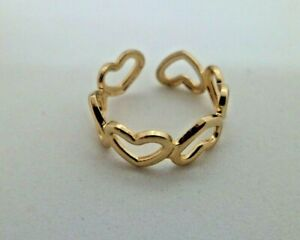 Toe Ring Hearts Rhodium Plated Adjustable Foot Beach Jewellery Gold Free P&P