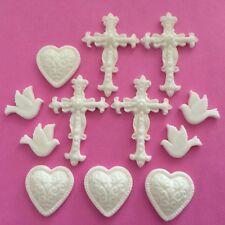 12 Marfil Bautizo del bebé comunión Comestibles Azúcar Toppers para Decoración de Pasteles cruces