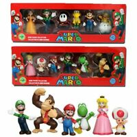 6PCS Super Mario Bros Luigi Mushroom Action Figure Doll Kid Birthday Gift Toy