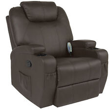 Executive Swivel Massage Recliner w/ 5 Heat Modes, 2 Cup Holders, 92lbs (Brown)