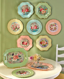 Vintage Inspired Roses Birds Charger Plates Décor Scalloped Retro Serving Trays