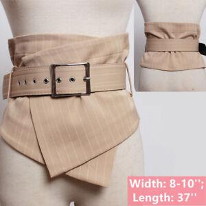 Plaid Wide Waist Belt Corset Cinch Elastic Waistband for Dress Blouse Tops