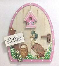Handpainted Personalised Jemima Puddleduck Fairy Door Gift Skirting Board Decor