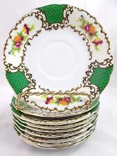 VINTAGE SET OF (9)  HAND PAINTED TASHIRA SHOTEN GREEN FLORAL CHINA SAUCERS