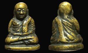 Phra LP Ngern Statue Wat Bangklan Antique Talisman old Thai Buddha Amulet