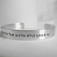"Gorgeous Handmade ""I love you to the moon and back""  Statement Cuff Bangle"