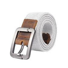 Fashion Waistband Men's Stripe Belts Casual Belt Buckle Canvas Leather Belt