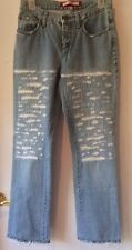 Voyage Passion Light Wash Italian Jeans Rhinestones Distressed Fringe Hem Sz 28