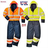 Portwest Hi Vis Viz contrast Coverall Lined Water proof Winter Working Suit S485