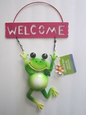 "Garden Collection Adorable Metal Frog W/Pink Flower 4"" x 8"" Welcome Sign New!"