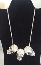 """Halloween Dia Del Muerto 3 Skulls 21"""" Silver Color, W/ Crystals Necklace NWT"""