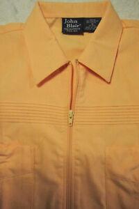 VINTAGE New John Blair Lt Orange Short Sleeve Banded Shirt Jacket M Rockabilly