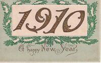 Postcard 1910 A Happy New Year Embossed Gold Unposted Written On Germany