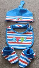 New baby boy Rugby Hat,Bib and booties 6 months