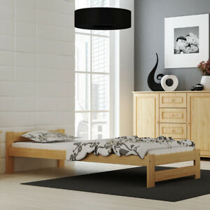 Holzbett mit Lattenrost Kieferholz Einzelbett Doppelbett Bett unlackiert roh