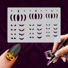Airbrush Mylar Schablonen - XL Set HW NAILART 4 Stk Halloween Kürbis Grusel
