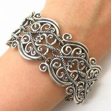 "925 Sterling Silver Carolyn Pollack Heavy Wide Panel Link Bracelet 6 3/4"""