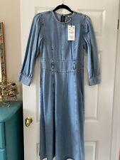Zara Denim Midi Dress Size M 10/12 BNWT
