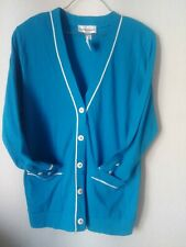 Cathy Daniels Cardigan size M blue 100% COTTON  NEW with Tags