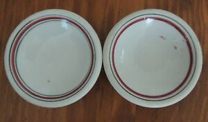 """Vintage 3 1/4"""" Unmarked Universal China BUTTER PAT Green and Red Stripe"""