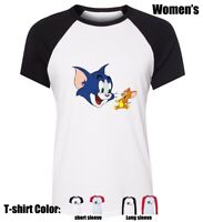 Women's Girl's Cartoon Tom and Jerry laughing Design T-shirt Graphic Tee Tops