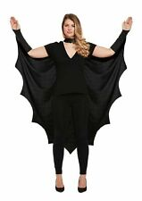 Womens Vampire Bat Wings Black Cape Adult Halloween  Fancy Dress Costume UK 8-10