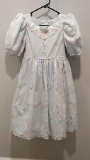 Vintage Daisy Kingdom Rose Lace Dress Girls Size 7 Blue Lace trim