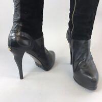 Behnaz Kanani Black Leather Suede Over The Knee OTK Zip Up Heels Boots 40 UK7