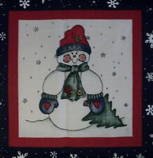 "Dianna Marcum  Cute Snowman!!  Navy Tree Snowman Panel  7"" X 7""  B3"