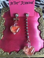 Betsey Johnson Glass Hearts Blown Coral Orange Flower Blossom Mismatch Earrings