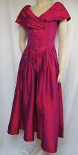Laura Ashley vestido de seda 34 rojo púrpura Wild seda boda vestido de noche Vintage