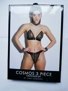 Ann Summers Cosmos 3 Piece Crotchless Lingerie Set Black S 8-10 New Boxed Sexy