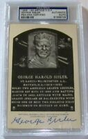 STUNNING! George Sisler Signed Artvue Baseball Hall of Fame Postcard Plaque PSA!