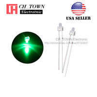 100pcs 2mm Diffused White Color Green Light Round Top LED Emitting Diodes USA