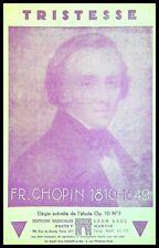 Ancienne Partition, TRISTESSE - FR. CHOPIN - Ed. musicales Léon Acel
