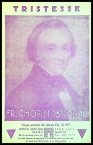 Ancienne Partition, TRISTESSE - FR. CHOPIN - Ed. musicales Léon Acel