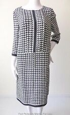 JAEGER Size 12  US 10 EUR 40 Blue and White 3/4 Sleeve Silk Shift Dress