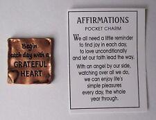 g Begin each day a grateful heart AFFIRMATIONS Pocket Charm TOKEN Ganz gratitude