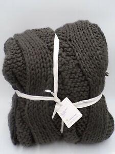 """Pottery Barn Bluma Chunky Knit Tassel Throw Gray Charcoal Gray 50 x 60"""" #9221"""