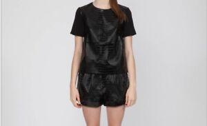 Cameo Black Crocodile Print Faux Leather Boxy Blouse Top