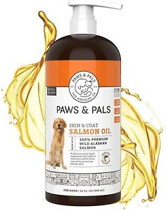 Pure Wild Alaskan Salmon Fish Oil for Dogs & Cats Omega 3 EPA DHA Liquid 32 oz