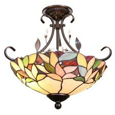 Crystal Leaf Mission Antique Bronze Finish Art Glass Semi-Flush Mount Light